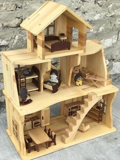 Wooden Dollhouse with furniture Sylvanian Families Calico Critters Scale Scale Montessori waldorf Wooden Еco Friendly Hygge At Home Furniture Store, Ikea Furniture, Wooden Furniture, Furniture Online, Furniture Companies, Wooden Dollhouse, Dollhouse Furniture, Dollhouse Bookcase, Dollhouse Kits