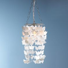 Pearl Capiz Butterfly Curtain Pendant Light - Sloane's Room - may be too butterfly-y