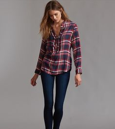 Ruffled Plaid Blouse Jeans Skinny, Distressed Skinny Jeans, Mannequin, Casual Wear, Mini Skirts, Plaid, Long Sleeve, Sleeves, Model