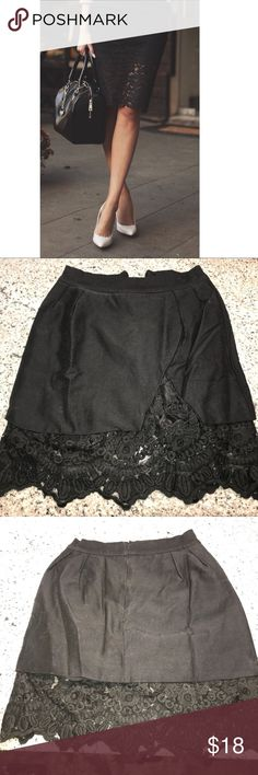 Black Pencil Skirt w/Lace Bottom New Black Pencil Skirt w/Lace - I have 100 of these, there's nothing I can't pair together and slay with a good pencil skirt. Unfortunately this size 4 doesn't fit just right with all these squats I've been putting down 💪🏽 Still has tags - totally gorge!! Choies Skirts Pencil