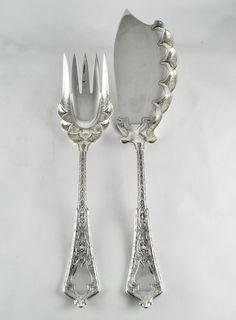 Jesus Christ.. I'd eat fish every day.     Tiffany & Co 1872 Fish Serving Set Persian Design via Ebay