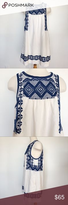 "MADEWELL Embroidered Stitchtake Sleeveless Dress MADEWELL Embroidered Stitchtake Sleeveless Dress • features slash pockets • made of 55% linen, 45% Cotton  • style c5813 Approximate measurements  Armpit to armpit 19"" Shoulder to hem 34"" Madewell Dresses Mini"