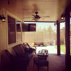 Alumawood Patio Cover Solid Top Three Ceiling Fans