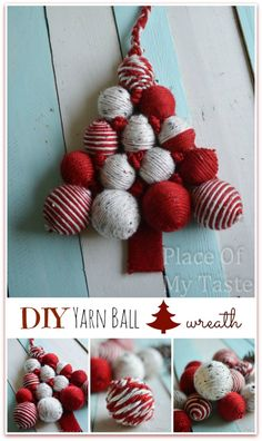 DIY YARN BALL CHRISTMAS TREE wreath @placeofmytaste.com