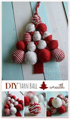DIY YARN BALL CHRISTMAS TREE wreath @placeofmytaste.com