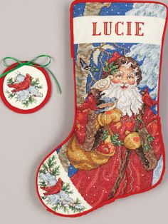 Christmas Craft Kits in House of Sylvestermouse: ST NICK CROSS STITCH STOCKING & ORNAMENT KIT