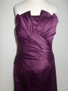 Vintage evening dress 90s Aubergine purple satin strapless ball gown size small by BidandBertVintage on Etsy