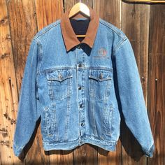 34a8b4d7 The Ashley Companies vintage blue jean jacket that has a nice brown leather  collar. Super. Depop