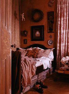 rich pink rustic bedroom