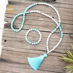 I Am Adventurous. I seek the unknown. The thrill. The excitement. I am strong enough to take charge of my life, connect with my inner power, and overcome fears by following my dreams.  Howlite is often worn as a reminder of patience. The marbled stone is associated with inner calm, stress release, and calming an over active mind.  Amazonite is a great to remind one to connect to their inner power and take charge of their life. The blue stone is associated with adventure and being on a… Tassel Necklace, Necklaces, Bracelets, Mindfulness Activities, I Am Strong, Calming, Patience, Connect, Stress