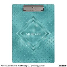 Personalized Green Mint Shiny Clipboard