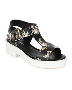 bbca3fa65f5 Breckelles CE16 Women Floral Peep Toe TStrap Chunky Heel Flatform Sandal  Black Size 80