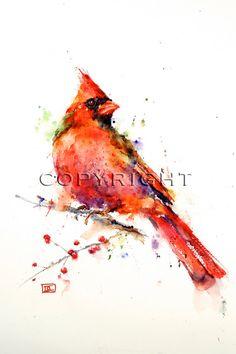 CARDINAL Watercolor Bird Print by Dean Crouser door DeanCrouserArt