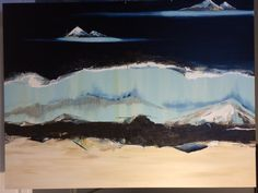 Abstract mountain rolling waves oil made with older sister for mom