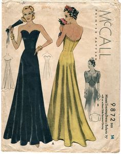 1930s strapless ruffled evening gown & bolero by PatternVault, $90.00