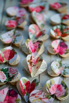 Inspire Wedding   English Rose   Beautiful little paper hearts garland
