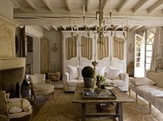 white and linen living space