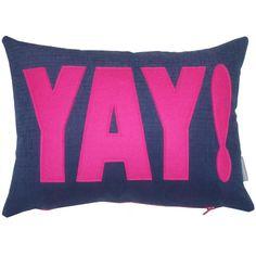 YAY! Cotton & Wool Felt Applique Fun Typography Cushion - Teenage Birthday - Bedroom Decor - Unique Gift - http://www.funhunter.com/yay-cotton-wool-felt-applique-fun-typography-cushion-teenage-birthday-bedroom-decor-unique-gift.html