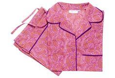 Sabine Paisley Pajama Set, Pink/Violet