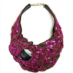 Zip in Shimmer Collar Necklace