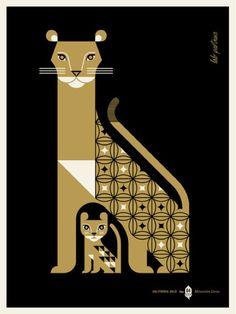 Ilustracion 2 tintas leona con cachorro - Vectorial