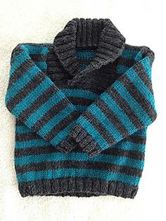D - Sweaters and Hat pattern by Sirdar Spinning Ltd Sweater can be knit with a shawl neck or round neck, and with or without stripes.Sweater can be knit with a shawl neck or round neck, and with or without stripes. Boys Knitting Patterns Free, Baby Sweater Patterns, Baby Cardigan Knitting Pattern, Knit Baby Sweaters, Toddler Sweater, Knitted Baby Clothes, Knitting For Kids, Boys Sweaters, Free Knitting