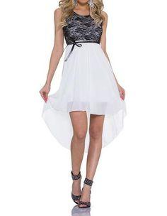 0e49a70a2d9 Womens Colorblock Lace Top Chiffon Sundress High Low Casual Dress
