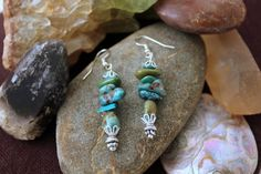 Raw Turquoise Drop Earrings by jewelrybysassy on Etsy Etsy Earrings, Drop Earrings, Handmade Beaded Jewelry, Turquoise Necklace, Chokers, Pure Products, Stone, Color, Beauty