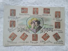 Antique French tinted postcard, Le Langage du Timbre/The Language of the Stamp Girls Winter Fashion, Couple Romance, Photo Postcards, French Antiques, Little Girls, Vintage World Maps, Stamp, France, People