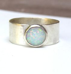 Sale White Opal ring Silver ring Gemstone ring by OritNaar on Etsy