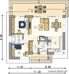 Small Custom Home Designs With A Usable Area Under 78 Square Meters Custom Home Designs, Custom Homes, Atrium, One Floor House Plans, Small Bungalow, Vintage House Plans, Story House, Studio, Building A House