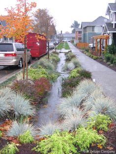 A natural drainage system integrated into the street layout, creating a network of vegetated and grass-lined swales underlain by amended soil that helps attenuate the impacts of small storm events on the Longfellow Creek basin. The end result improved water quality and usable green space for the community, linking the community to the watershed.