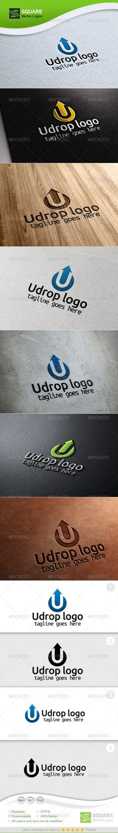 U, Drop Vector Logo Template