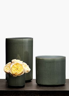 3in - 12in Black Linen Ceramic Vases