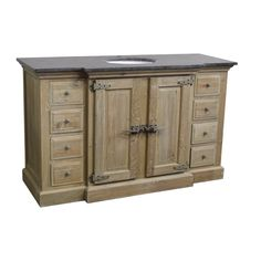 """Reclaimed Pine Single Fridgey Breakfront Bath Vanity Wash Finish Natural Asian Blue Stone Top Under-Mounted Porcelain Sink Single Pre-Drilled Faucet Hole 59 W x 23D x 36H with 2"""" Stepback"""