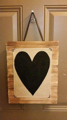 Paintstick sign with solid black heart on burlap www.facebook.com/jennaleecustomsignsofcoronado