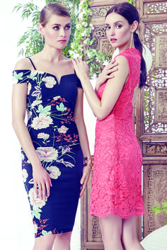 The Best Dressed Wedding Guest: Oriental-inspired florals and pops of coral make for a wedding guest look that is guaranteed to turn heads. See the full selection of dresses, shoes and accessories for the entire wedding party online at LE CHÂTEAU's Wedding Boutique.
