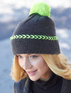 Pop of Neon Hat | Free Knitting Patterns | Yarnspirations