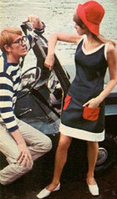 Fashion - Pattie Boyd models Mary Quant Woman wearing mod fashion style and a skimmer dress that was popular during the 60s And 70s Fashion, Retro Fashion, Vintage Fashion, 1960s Fashion Women, Sporty Fashion, Ski Fashion, Fashion Online, Vintage Outfits, Robes Vintage
