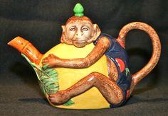Royal Doulton authorized Minton monkey tea pot. Modern. Majolica International Society image from the Karmason Library.