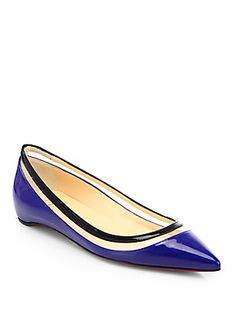 Christian Louboutin Paulina Patent Leather & Plastic Point-Toe Flats