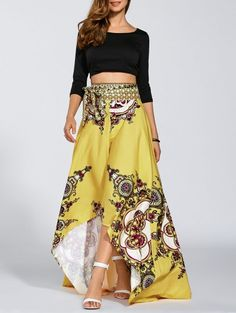 High Low Pint Skirt - YELLOW S Mobile
