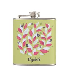 Green Plant Pink Leaves And Ladybugs Spring Name Flask - trendy gifts cool gift ideas customize