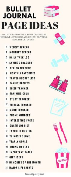 This is a perfect list of bullet journal page ideas to help inspire me. Looking forward to getting started on my new bullet journal and trying out different journal spread layouts. #bulletjournalpageideas #bulletjournasl #planners #journaling