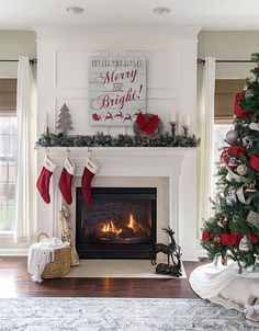 Christmas Mantle Ideas - Traditional Christmas Home Tour with Red Green and White