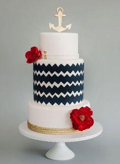 Bolo pra casamento na praia!! Ameiii o estilo marinheiro!!