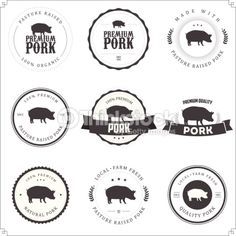 Arte vectorial : Set of premium pork labels