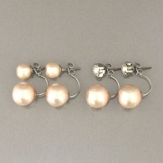 MiyabiGrace: Pink Cotton Pearl Stud Earrings 8mm, Valuable Set 4 Way Earrings, Swarovski Crystal Stud Earrings, 12mm White Cotton Pearl Backs #ダブルコットンパールピアス #コットンパールピアス #スワロフスキーピアス #TribalPearlEarrings #TribalEarrings #DoubleCottonPearlEarrings #DoublePEarlEarrings #MiyabiGrace