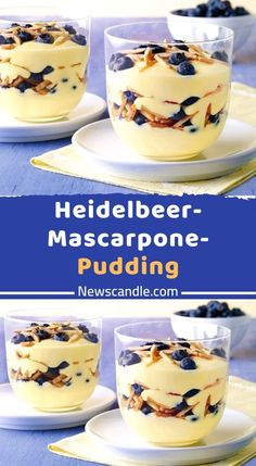 Ingredients for the recipe blueberry mascarpone pudding Ingredients: 1 pck. Oetker Original Pudding Powder Vanilla Flavor 50 g Sugar 500 ml Milk 125 g Mascarpone (Italian Cream Cheese) 50 g Dr. Italian Cookie Recipes, Holiday Cookie Recipes, Holiday Desserts, Dessert Simple, Quick Dessert Recipes, Cake Recipes, Köstliche Desserts, Delicious Desserts, Pudding Ingredients