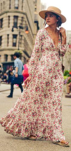 Retro Romantic Floral Maxi Dress @roressclothes closet ideas #women fashion outfit #clothing style apparel